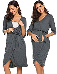Ekouaer Nursing Robe Labor/Delivery Matenity Hospital Nightgown Breastfeeding Dress