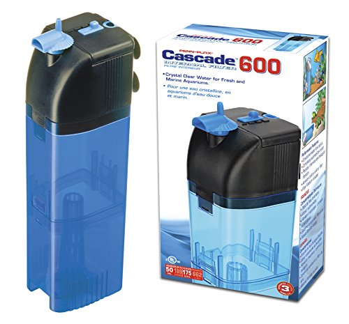 - Penn Plax Cascade 600 Submersible Aquarium Filter Cleans Up to 50 Gallon Fish Tank with Physical, Chemical, and Biological Filtration