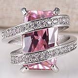 925 Silver Huge 5.5CT Pink Sapphire Women Men Wedding Engagement Ring Size 6-10#by pimchanok shop (7, Pink Sapphire)