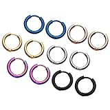Zysta 12pcs Stainless Steel Mixed 6 colors, 8-20MM Small Round Tube Endless Hoop Earrings, Hypoallergenic for Cartilage, Nose, Ears, Tragus