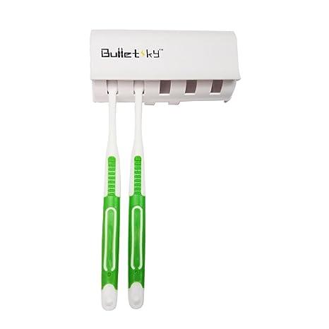 bulletsky soporte para cepillos de dientes con tapa (blanco)