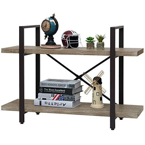 Ollieroo Rustic Vintage Bookcase Industrial Bookshelf, Grain Wood and Metal Shelves Furniture (2 Tier) (Shelving Line Open)