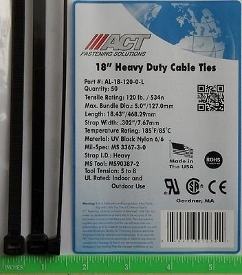 USA 500 Pcs. Heavy Duty 120 Lb 18'' UV Resistant Black Cable Zip Ties