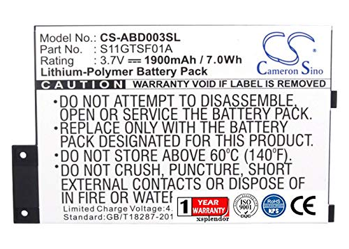 XPS Replacement Battery for a K 3 K 3 Wi-fi K 3G K Graphite K III PN 170-1032-00 170-1032-01 GP-S10-346392-0100 S11GTSF01A 1900mAh