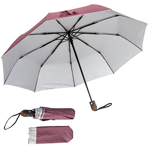Automatic Open/Close Pinstriped Umbrella (Red) – Features a UV Protectant Liner
