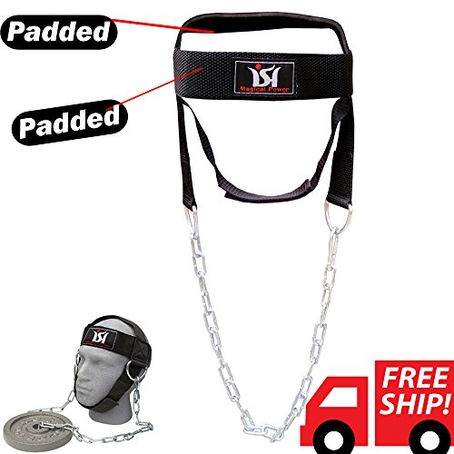 Head Harness Neck - ISH Gym Weight Lifting Head Neck Harness Nylon Straps Fitness Strength Training