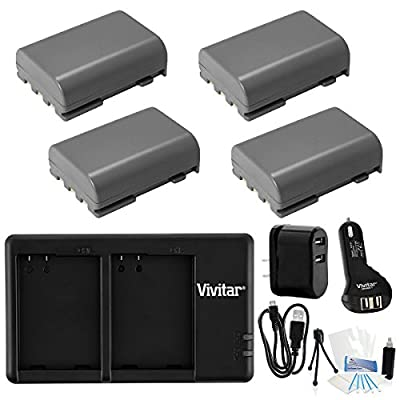 NB-2L/NB-2LH Dual Rapid Battery USB Charger (with AC and Auto Plugs). Also includes 4-Pk High-Capacity Replacement Batteries and UltraPro Accessory Bundle: Cleaning Kit, Screen Protector, Mini Tripod