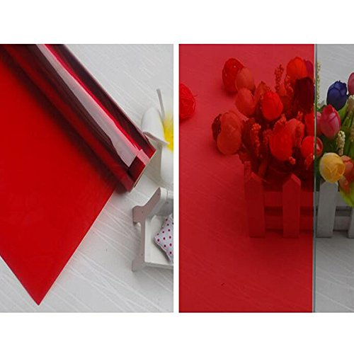 HOHO Red Deco Window Film Stained Glass Tint Stickers,0.7mx30m by HOHO