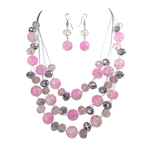 [Multi Row Beaded Illusion Wire Lightweight Necklace and Dangle Earring Set (Bright Pink & Grey)] (Womens Rainbow Bright Costume)