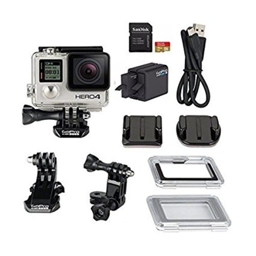 GoPro HD Hero4 Silver Action Camcorder with Dual Battery Charger and 16GB MicroSD Card (Best Small Ski Towns To Live In)
