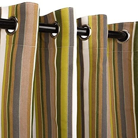 hatteras hammocks sunbrella outdoor curtain with nickel plated grommets in carousel limelight 50 in x 108