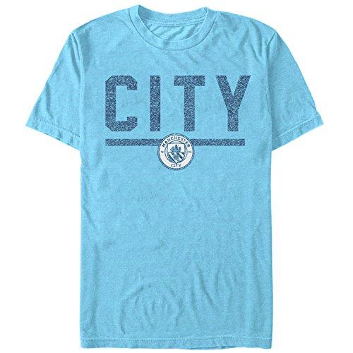 (Manchester City Football Club Men's City Stripe Light Blue Heather T-Shirt)