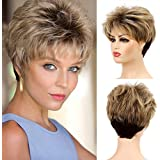 Baruisi Short Pixie Cut Wigs for Women Brown Synthetic Layered Hair Wig with Bangs