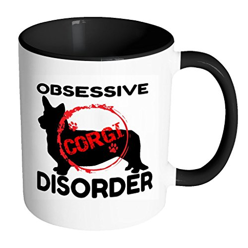 Two Toned Ceramic Mug (OCD Obsessive Corgi Disorder - Two Toned 11oz Ceramic Mug ( 2 colors available) (black))
