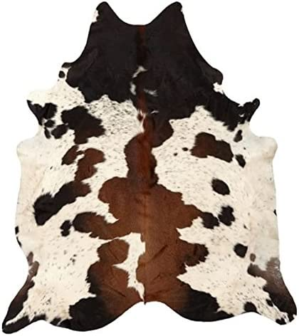 Pure Brown Tricolor Cowhide Rug Black Brown and White Luxurious Cow Skin Tri Color 5 X 4