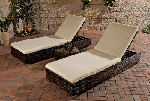 Homy - Lote 2 Hamacas reclinables para Terraza + 1 mesa auxiliar ...
