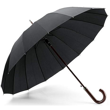 Paraguas Extra Premium 16 Varillas. Automático, Resistente y Elegante. Negro, Mango en
