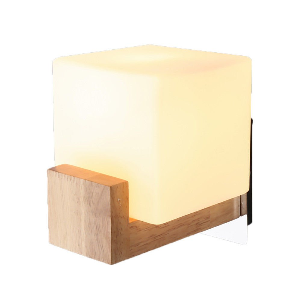 Wall Lamps,Wooden Bedside lamp led Solid Wood Room Bedroom Simple Square 26x26x26cm Bracket Light