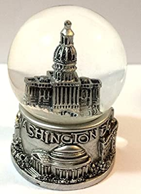Washington DC Silver Snow Globe 2.5 Inch (45mm) Skylines & Statue of liberty New