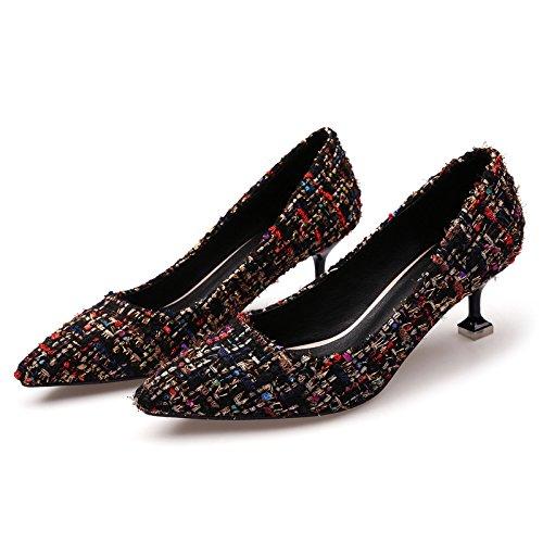 alto Negro tacón de superficial punta chica agua de Boca taladro solo así zapatos 35 color fina el HTxgWqw0