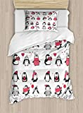 Twin XL Extra Long Bedding Set,Winter Duvet Cover Set,Cute Penguins Hand Drawn Style Set Merry Christmas Greetings Babies Kids Toddler,Cosy House Collection 4 Piece Bedding Sets