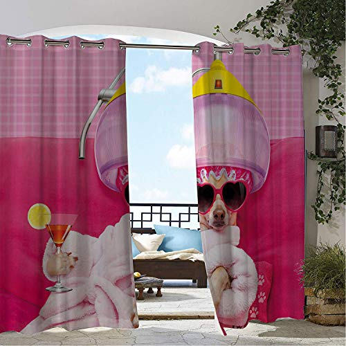Magenta Print Unit - Linhomedecor Outdoor Waterproof Curtain Funny Chihuahua Dog Relaxing and Lying in Wellness Spa Fashion Puppy Comic Print Magenta Ba Pink doorways Grommet Privacy Curtain 96 by 72 inch