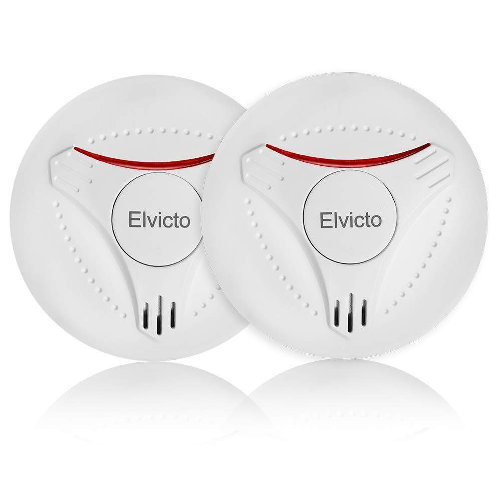 Elvicto 2 Pack Photoelectric Smoke Detector Sealed-in 10 Year Lithium, Battery-Operated Fire Alarm for Home by Elvicto