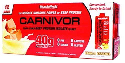 MuscleMeds Carnivor Ready to Drink Protein, Vanilla Caramel, 16.9 Ounce, 12 Count