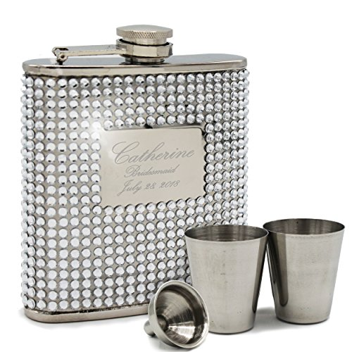 Engraved Personalized Silver Bling Flask Set - Bridesmaid Gift, Bachelorette Party Hip Flask - Custom Monogrammed for Free ()