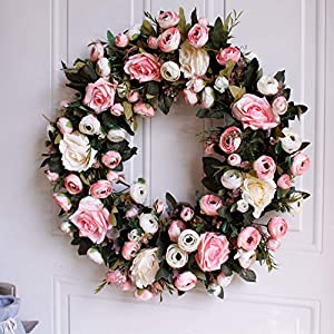 """Dseap Wreath - 19"""", Rose: Large Rustic Farmhouse Decorative Artificial Flower Wreath, Faux Floral Wreath for Front Door Window Wedding Outdoor Indoor - Round, Pink 1"""