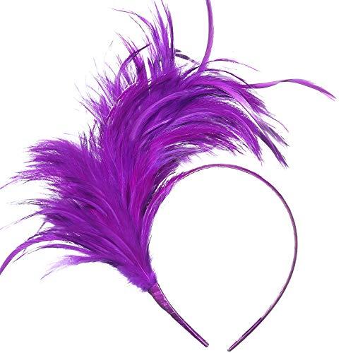 BABEYOND 1920s Fascinator Gatsby Feather Headband Kentucky Derby Headpiece for Cocktail Wedding Tea Party (Purple)