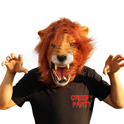 [CreepyParty Novelty Halloween Costume Party Animal Head Mask - King Lion] (Animal Halloween Costumes Men)