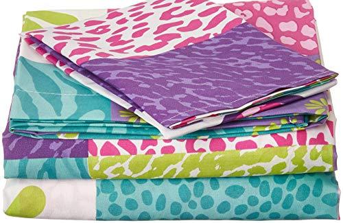 Twin Size Mk Collection 3pc Sheet Set Pink Purple Teel Zebra Leopard Heart Peace Sign Teens/Girls ()
