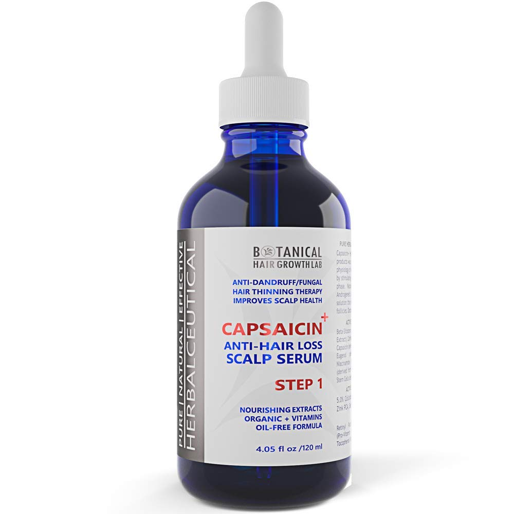 Anti-Hair Loss Pre-Shampoo Serum CAPSAICIN+ / STEP 1: Scalp Treatment with Caffeine, Vitamins and Botanical Extracts (Oil-Free) for Hair Loss Prevention/Alopecia / DHT 4.05 Fl Oz
