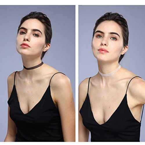 (duoduodesign 2 Pieces Stripe Stretch Choker Necklace for Women and Girls, Black and White (White and Black, 30))