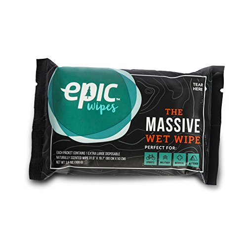 Epic Wipes, 10-pack massive wet wipes, biodegradable residue-free shower substitute, big on-the-go bamboo body wipes (Best Tent For Burning Man)