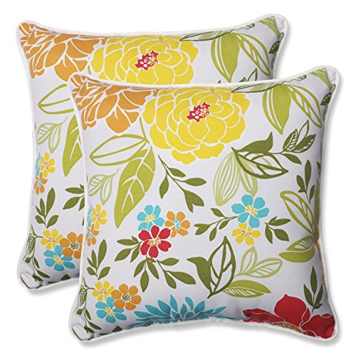 Pillow Perfect Outdoor Spring Bling Throw Pillow, 18.5-Inch, Multicolored, Set of -