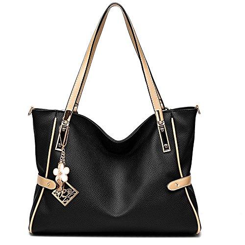 [Vincico Women Black Fashion Satchel Top-handle Messenger Tote PU Leather Shoulder Bag Ladies Bags] (Sale On Purses)