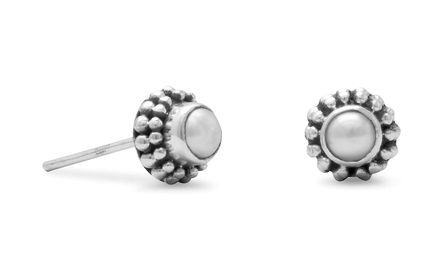 Sterling Silver Bali Post Stud Earrings 3mm Bleached White Cultured Freshwater Button Pearls