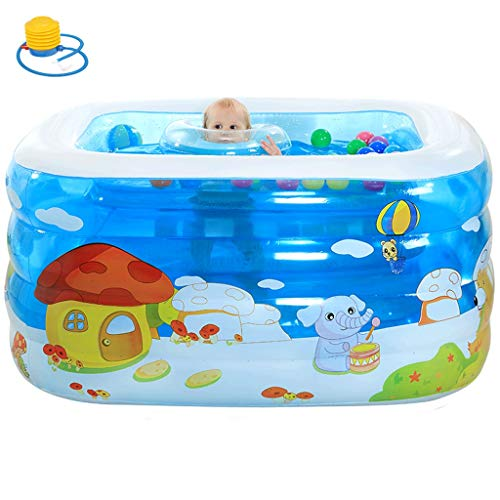 Inflatable Bathtub, Baby Thicker Large PVC Foldable Swimming Ocean Life Pool, Family Shower Basin for Kids Children from 0-4 Years (Color : Blue-b, Size : 12010275cm)