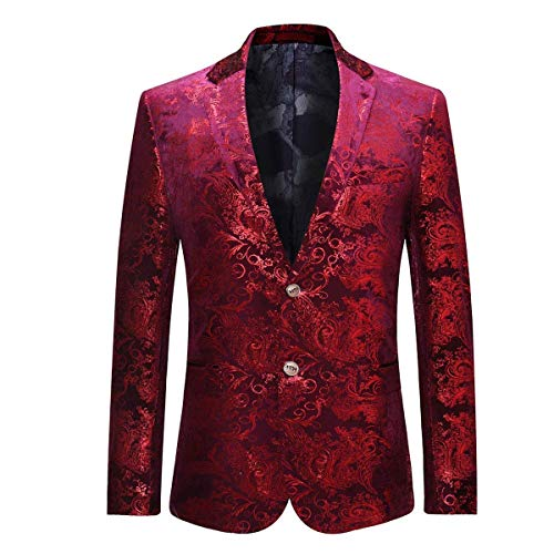 WEEN CHARM Men's Designer Floral Printed Single Breasted Two Button Modern Fit Tux Blazer Jacket Coat (XL, Red)