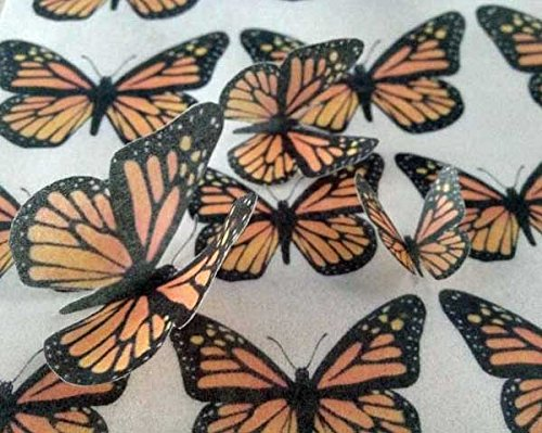 Edible Wafer Monarch Butterflies ~ 25 Assorted Sizes Monarchs~ BUY TWO GET THIRD FREE!