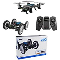 RC Flying Cars Quadcopter K20 Air-land Remote Control Aircraft Drone Flying Vehicles 4-Axis Aircraft Toys without WIFI Camera (USB)