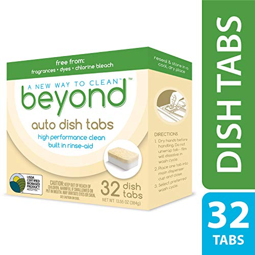New! Beyond Auto Dishwasher Tabs - USDA Certified 75% Biobased - Fragrance & Dye Free, 32 CT Automatic Dishwasher Soap Tablets with Built-in Rinse-Aid