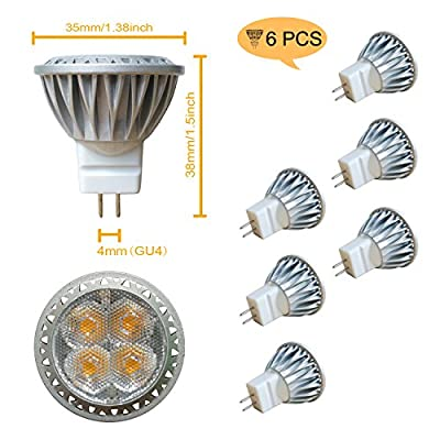 ALIDE MR11 Led Bulbs Replace 20W 35W Halogen Equivalent,Bi-pin GU4.0 3W 12V Low Voltage,3000K Soft Warm White Spotlight for Outdoor Landscape Recessed Track Lighting,Not Dimmable,35mm,240lm,30°,6pcs