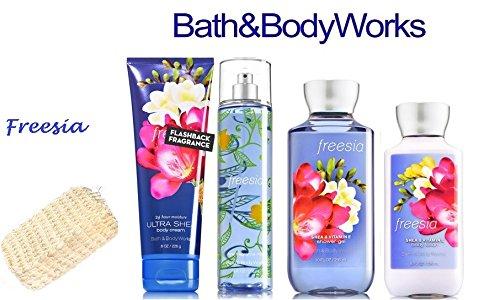 Bath & Body Works FREESIA Deluxe Gift Set Lotion ~ Cream ~ Fragrance Mist ~ Shower Gel + FREE Sisal Sponge Lot of 5