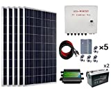 ECO-WORTHY 500 Watts Complete Solar Kit Off Grid: 5pcs 100W Polycrystalline Solar Panel Module + 45A PWM Charge Controller + Combiner Box + Solar Cable + Z Brackets + 200Ah 12V Batterry