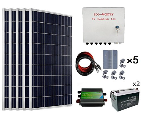 ECO-WORTHY 500 Watts Complete Solar Kit Off Grid: 5pcs 100W Polycrystalline Solar Panel Module + 45A PWM Charge Controller + Combiner Box + Solar Cable + Z Brackets + 200Ah 12V Batterry by ECO-WORTHY