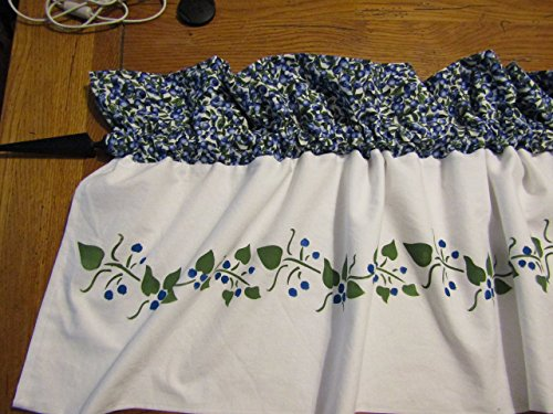Hand Stenciled Lined Blueberry Curtain Valance
