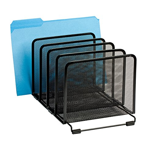 Rolodex Mesh Collection Stacking Sorter 5 Section Black